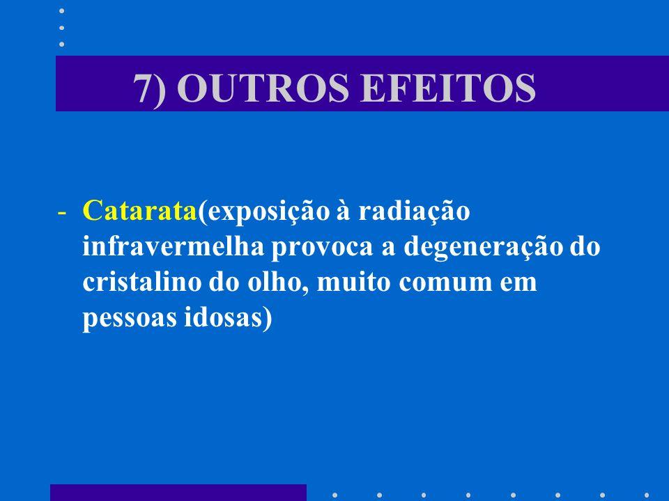 7) OUTROS EFEITOSCatarata(exposição à radiação infravermelha provoca a degeneração do cristalino do olho, muito comum em pessoas idosas)