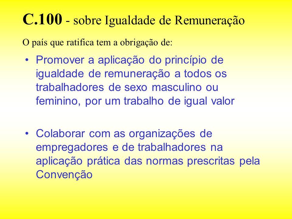 C.100 - sobre Igualdade de Remuneração O país que ratifica tem a obrigação de: