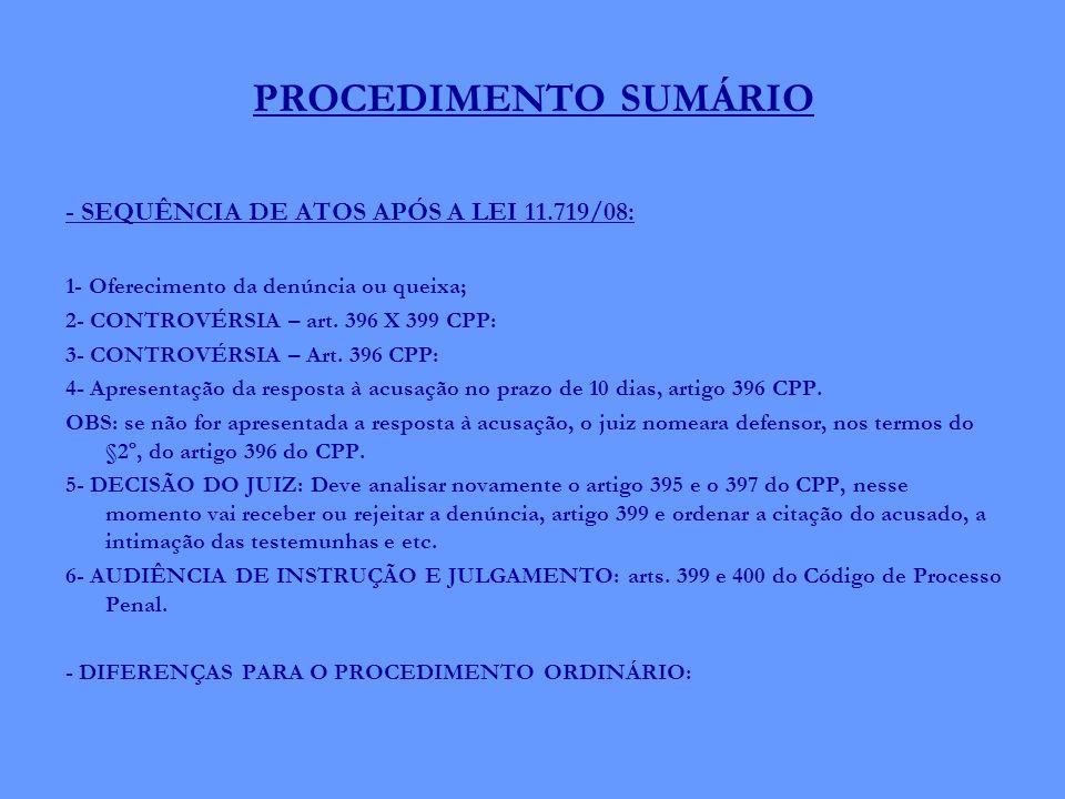 PROCEDIMENTO SUMÁRIO - SEQUÊNCIA DE ATOS APÓS A LEI 11.719/08: