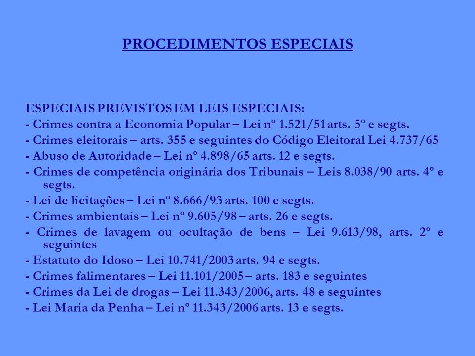 PROCEDIMENTOS ESPECIAIS