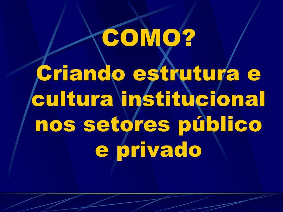 COMO Criando estrutura e cultura institucional nos setores público e privado