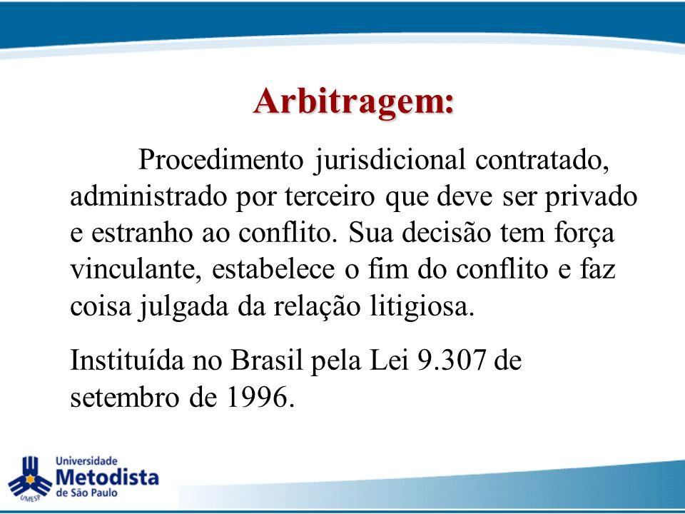 Arbitragem: Instituída no Brasil pela Lei 9.307 de setembro de 1996.