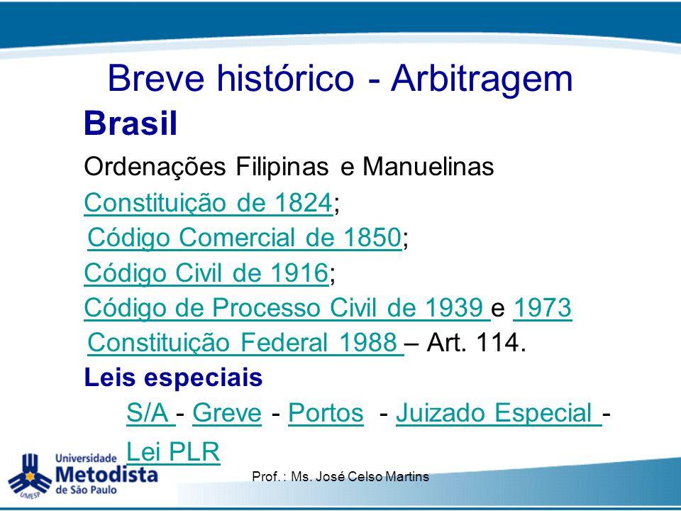 Breve histórico - Arbitragem