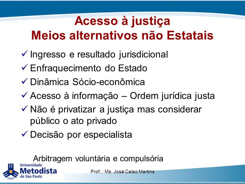 Acesso à justiça Meios alternativos não Estatais