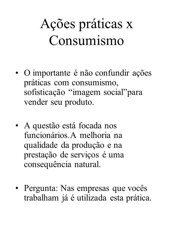 Ações práticas x Consumismo