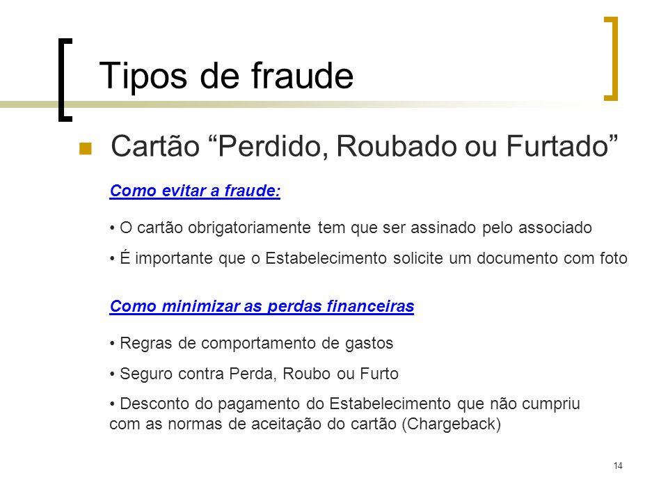 Tipos de fraude Cartão Perdido, Roubado ou Furtado