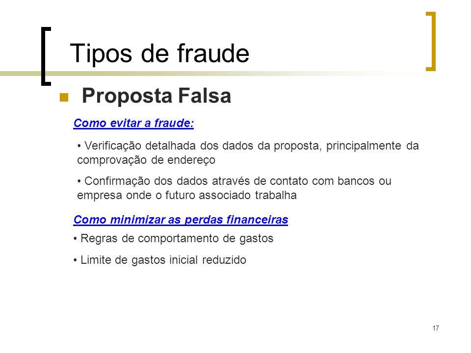 Tipos de fraude Proposta Falsa Como evitar a fraude: