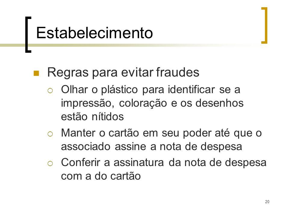 Estabelecimento Regras para evitar fraudes