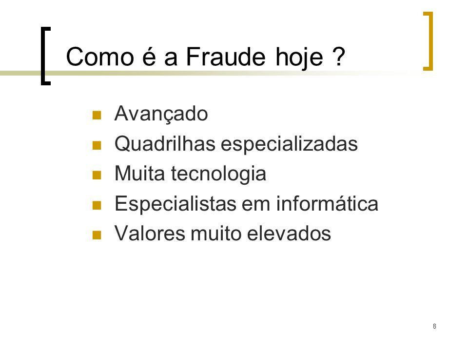 Como é a Fraude hoje Avançado Quadrilhas especializadas