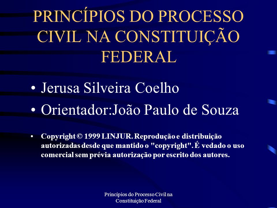 PRINCÍPIOS DO PROCESSO CIVIL NA CONSTITUIÇÃO FEDERAL