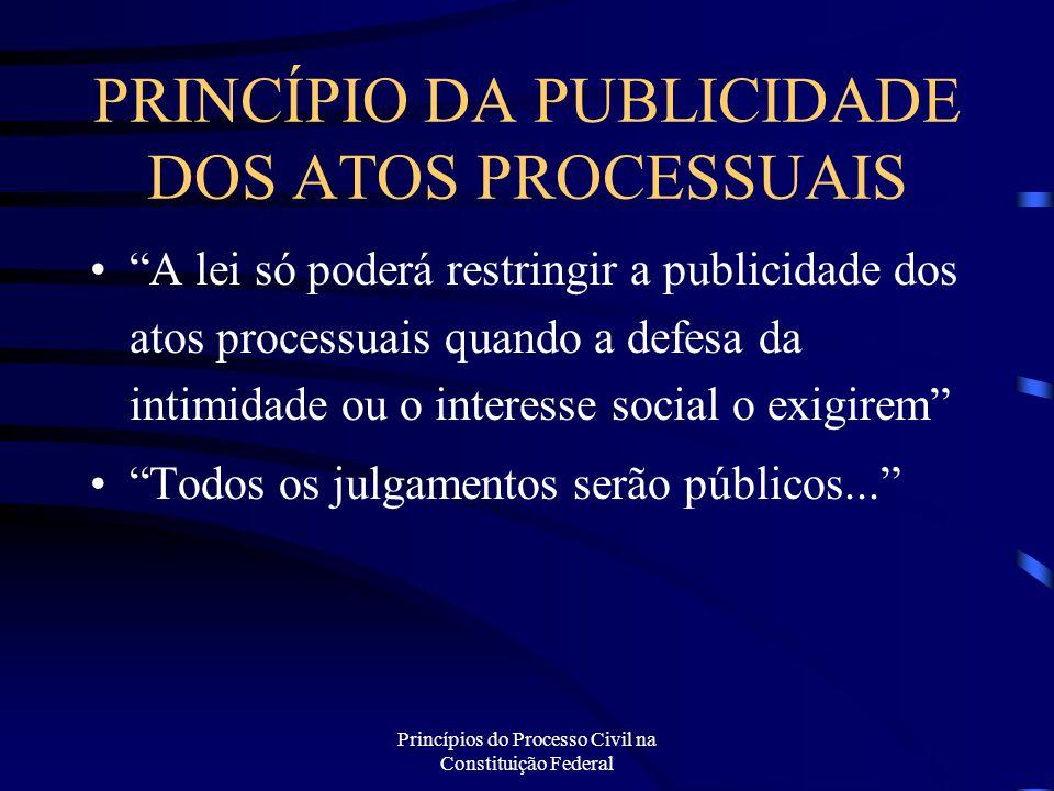 PRINCÍPIO DA PUBLICIDADE DOS ATOS PROCESSUAIS