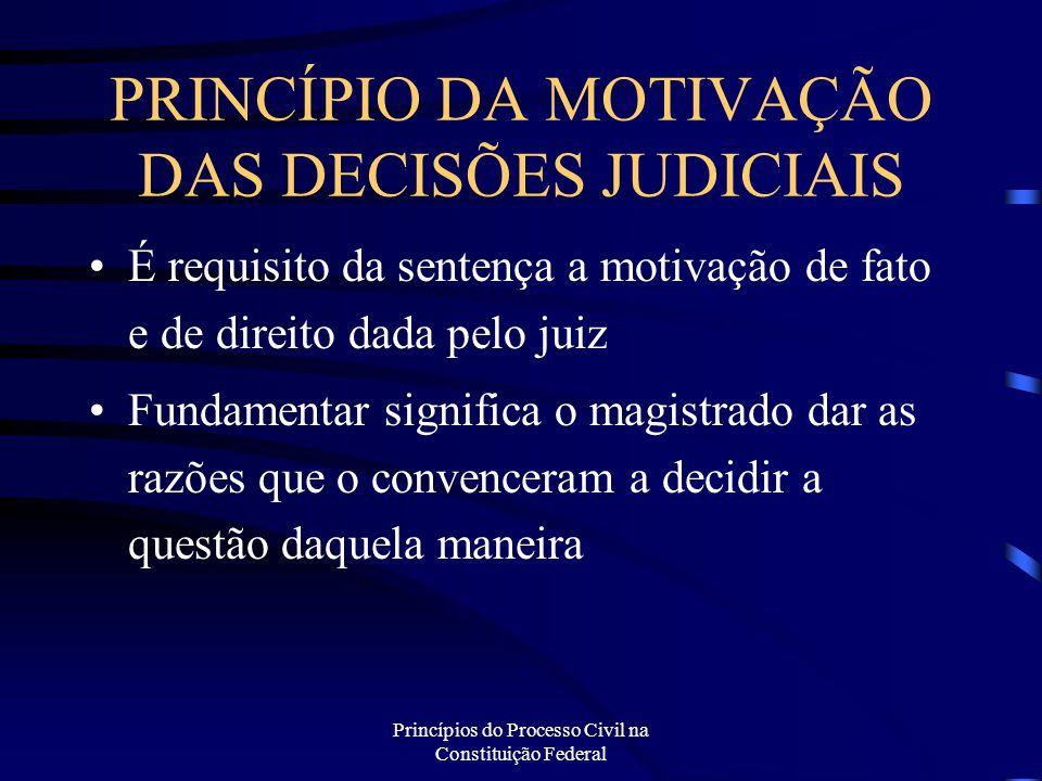 PRINCÍPIO DA MOTIVAÇÃO DAS DECISÕES JUDICIAIS