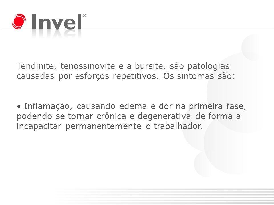 Tendinite, tenossinovite e a bursite, são patologias causadas por esforços repetitivos. Os sintomas são:
