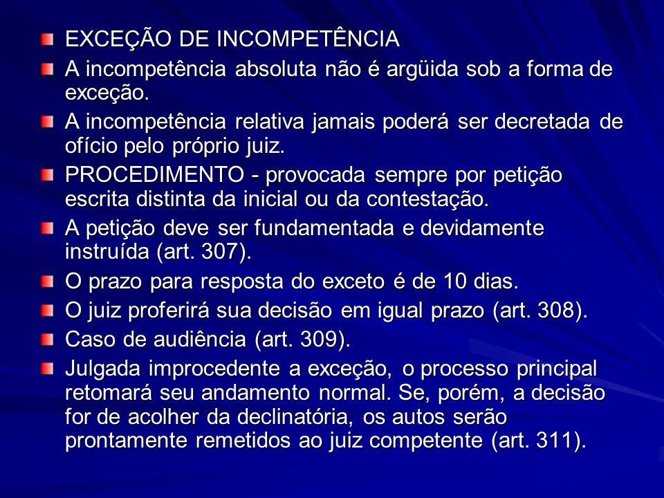 EXCEÇÃO DE INCOMPETÊNCIA