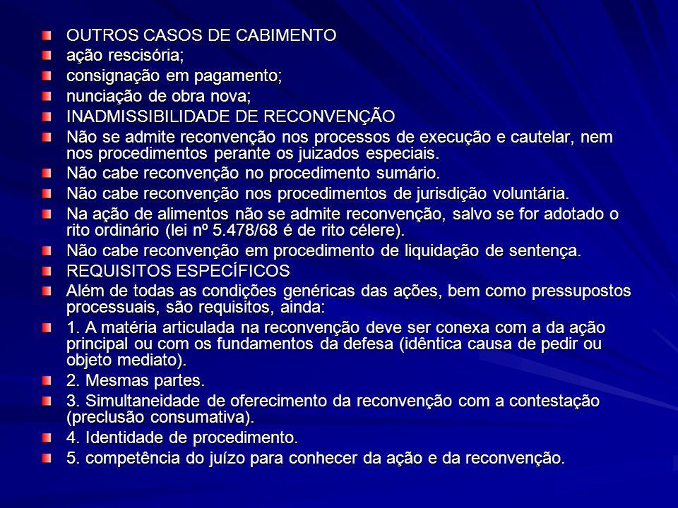 OUTROS CASOS DE CABIMENTO