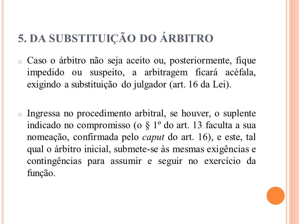 5. DA SUBSTITUIÇÃO DO ÁRBITRO