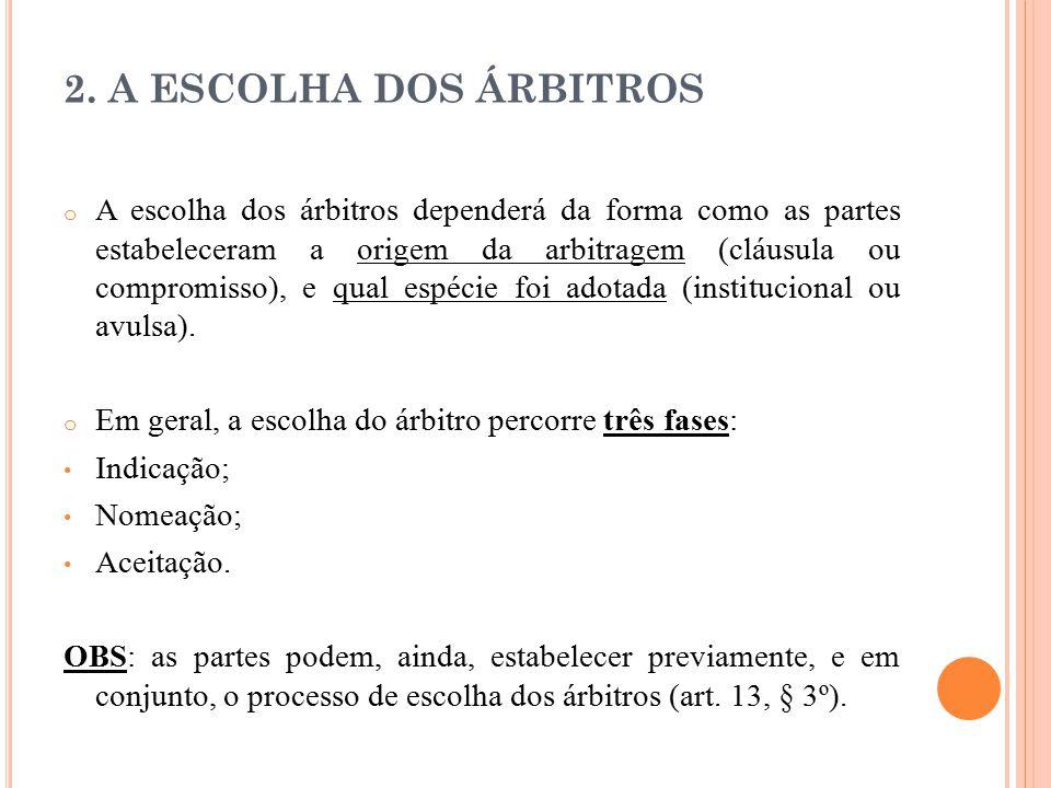 2. A ESCOLHA DOS ÁRBITROS