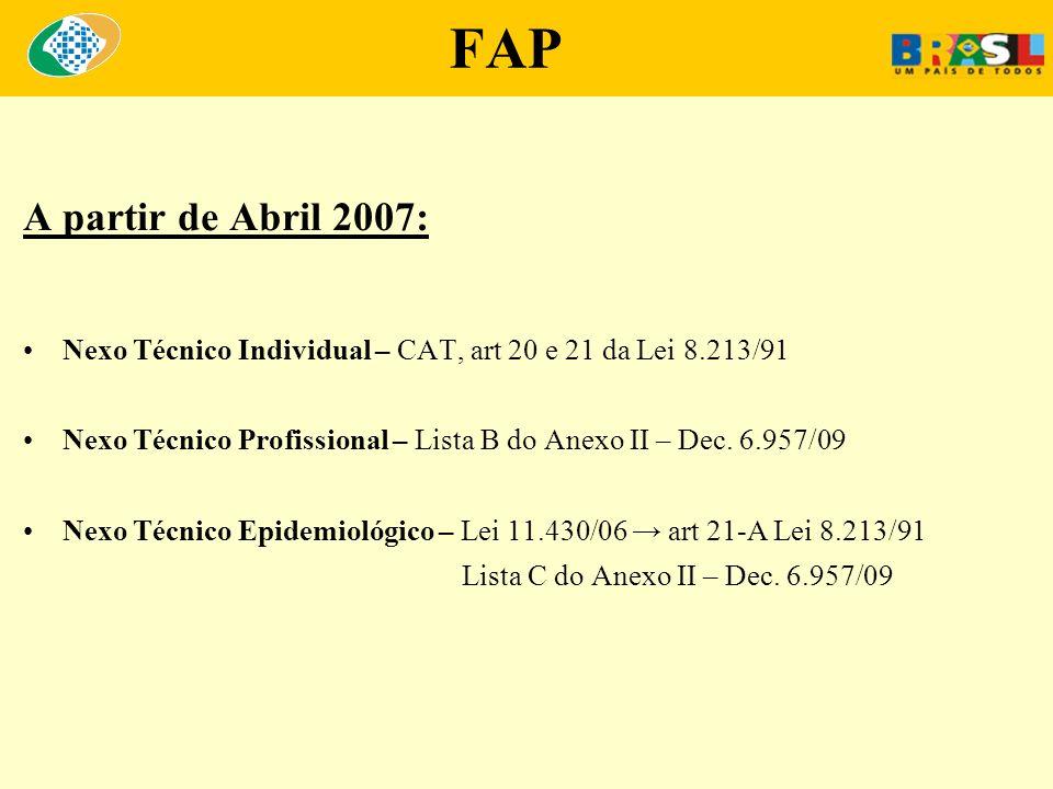 FAP A partir de Abril 2007: Nexo Técnico Individual – CAT, art 20 e 21 da Lei 8.213/91.
