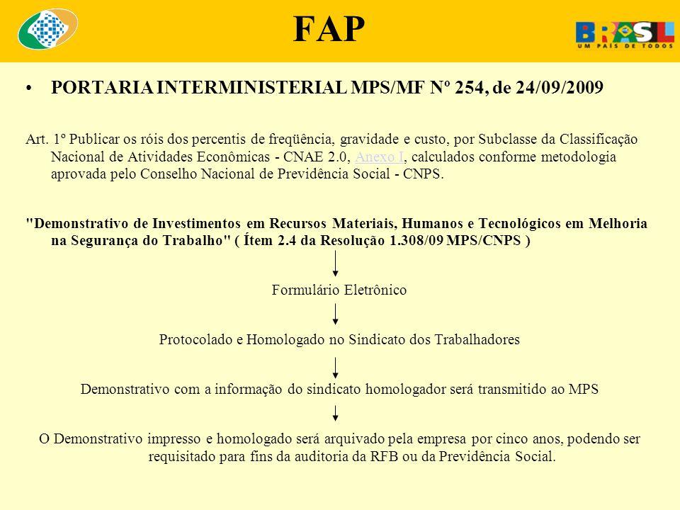 FAP PORTARIA INTERMINISTERIAL MPS/MF Nº 254, de 24/09/2009