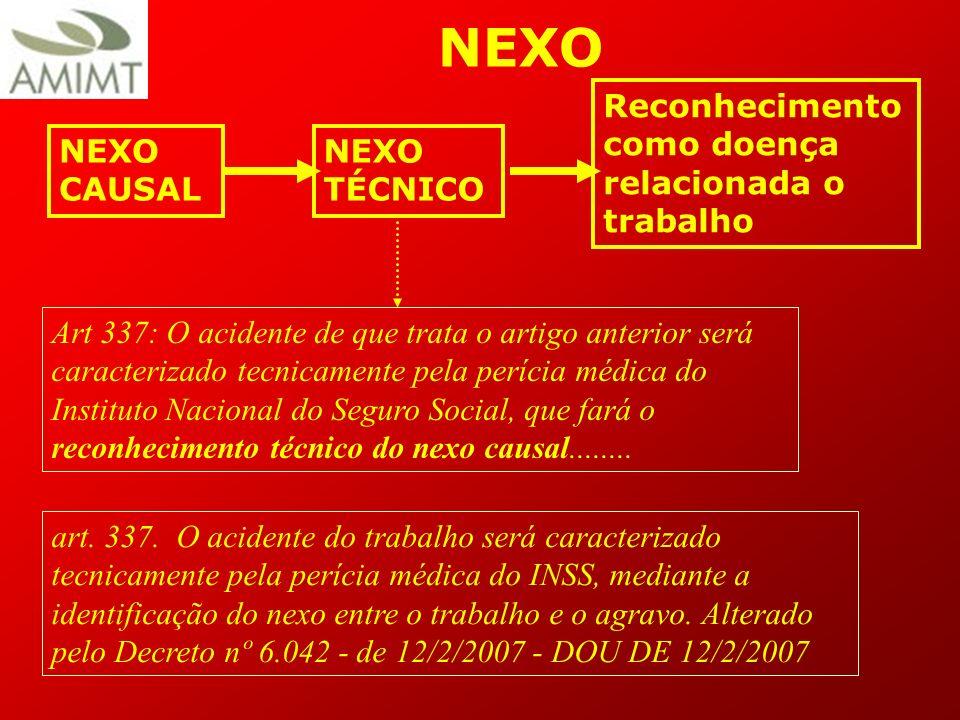 NEXO Reconhecimento como doença relacionada o trabalho NEXO CAUSAL