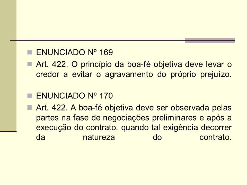 ENUNCIADO Nº 169 Art. 422. O princípio da boa-fé objetiva deve levar o credor a evitar o agravamento do próprio prejuízo.
