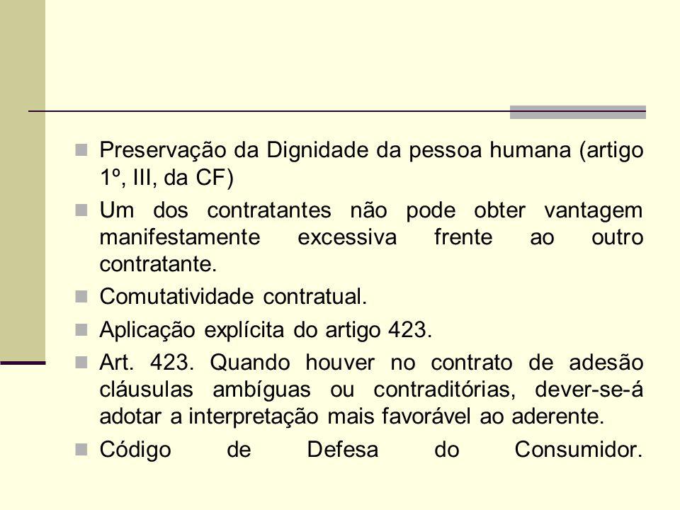 Preservação da Dignidade da pessoa humana (artigo 1º, III, da CF)