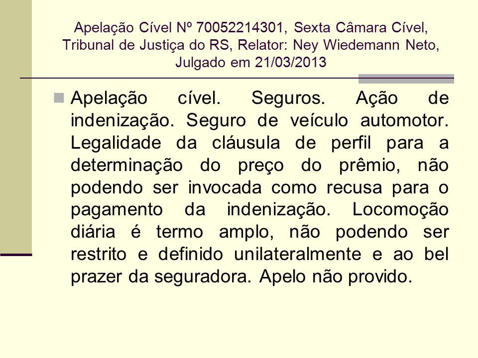 Apelação Cível Nº 70052214301, Sexta Câmara Cível, Tribunal de Justiça do RS, Relator: Ney Wiedemann Neto, Julgado em 21/03/2013