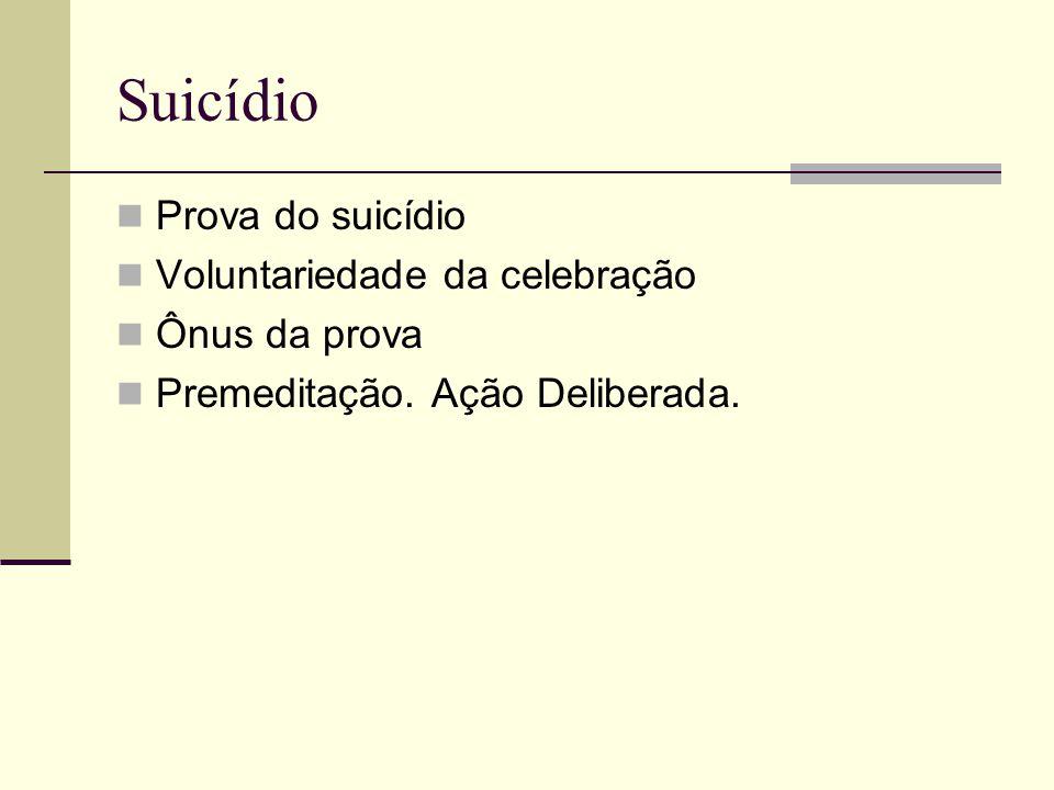 Suicídio Prova do suicídio Voluntariedade da celebração Ônus da prova