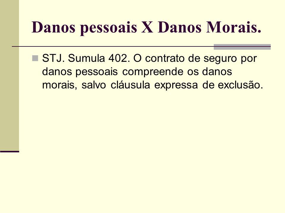 Danos pessoais X Danos Morais.