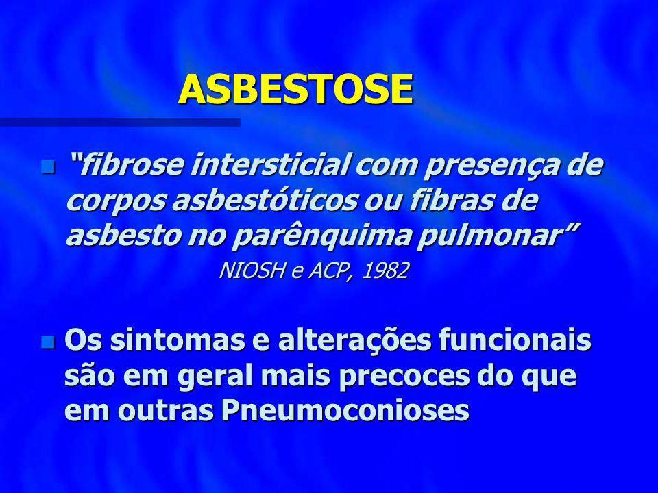 ASBESTOSE fibrose intersticial com presença de corpos asbestóticos ou fibras de asbesto no parênquima pulmonar