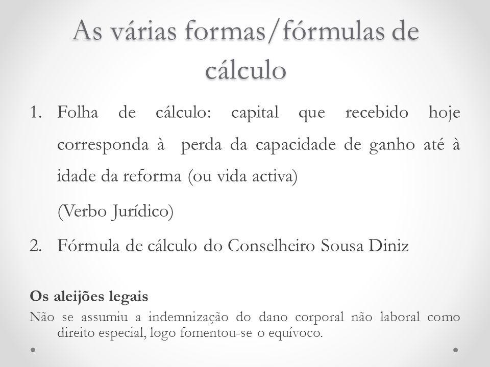 As várias formas/fórmulas de cálculo