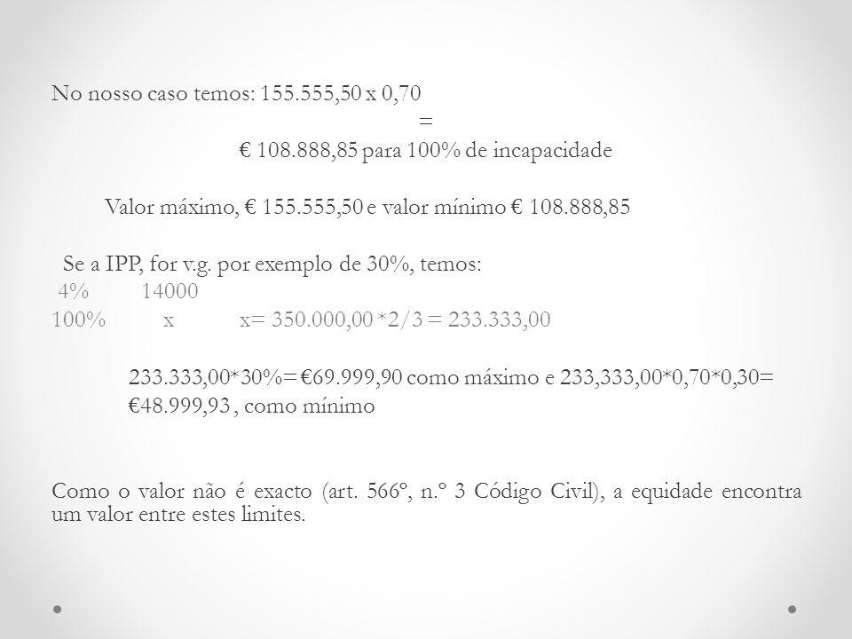 No nosso caso temos: 155. 555,50 x 0,70 = € 108