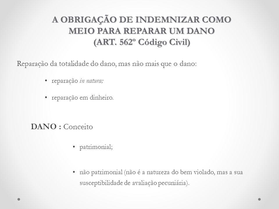 A OBRIGAÇÃO DE INDEMNIZAR COMO MEIO PARA REPARAR UM DANO (ART