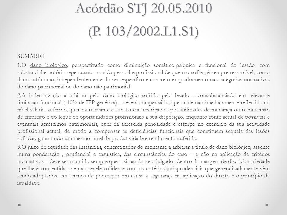 Acórdão STJ 20.05.2010 (P. 103/2002.L1.S1) SUMÁRIO