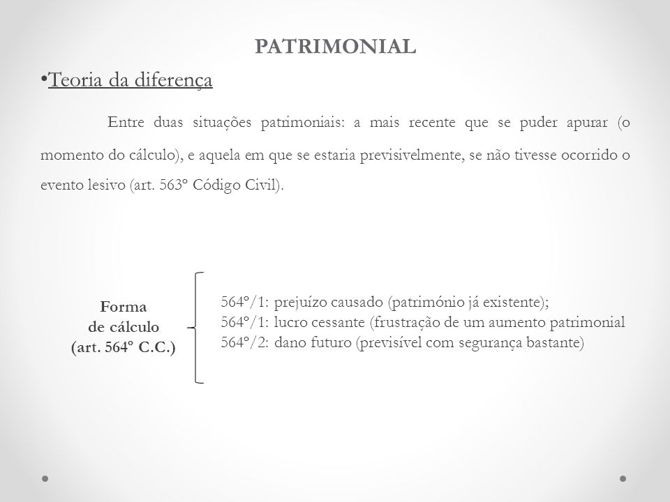 PATRIMONIAL Teoria da diferença