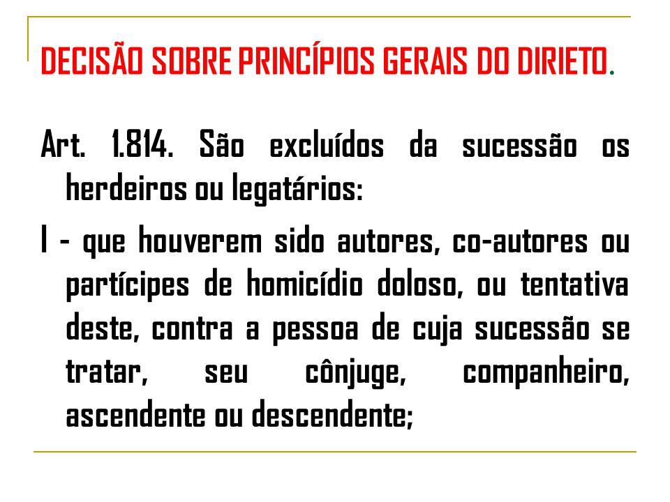 DECISÃO SOBRE PRINCÍPIOS GERAIS DO DIRIETO.