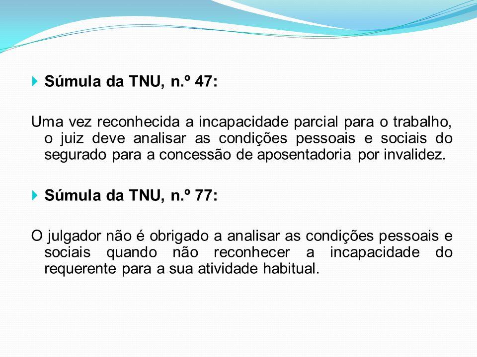 Súmula da TNU, n.º 47: Súmula da TNU, n.º 77: