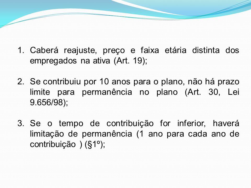 Caberá reajuste, preço e faixa etária distinta dos empregados na ativa (Art. 19);