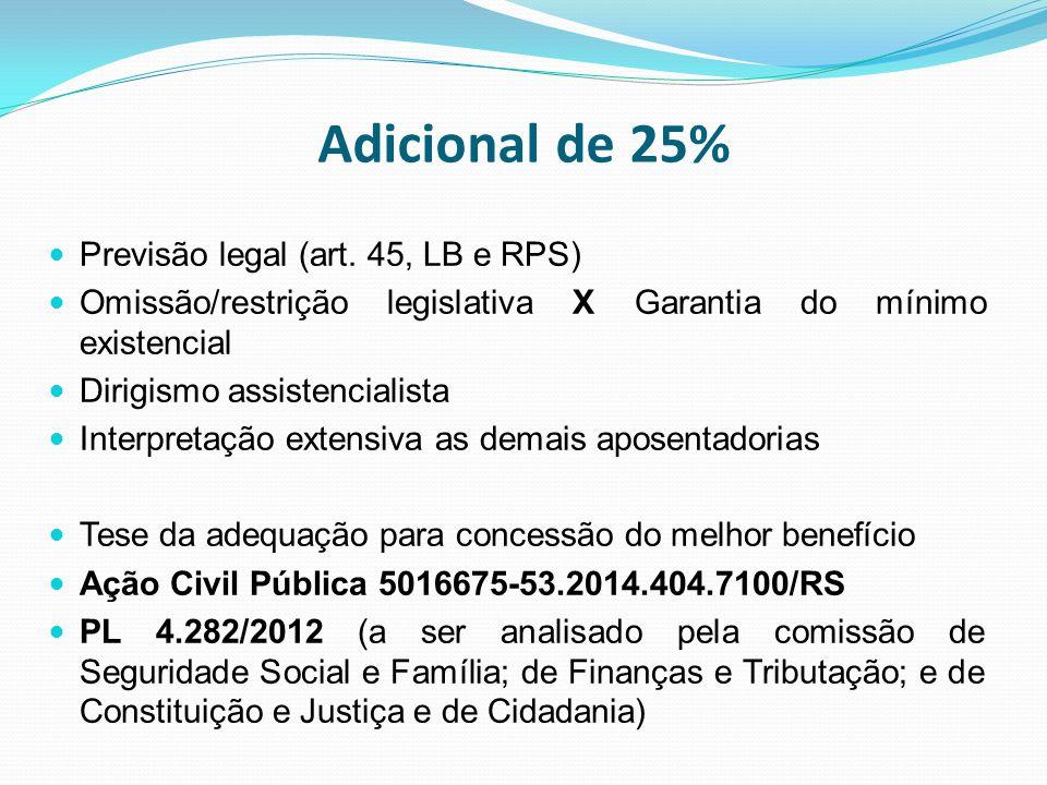 Adicional de 25% Previsão legal (art. 45, LB e RPS)