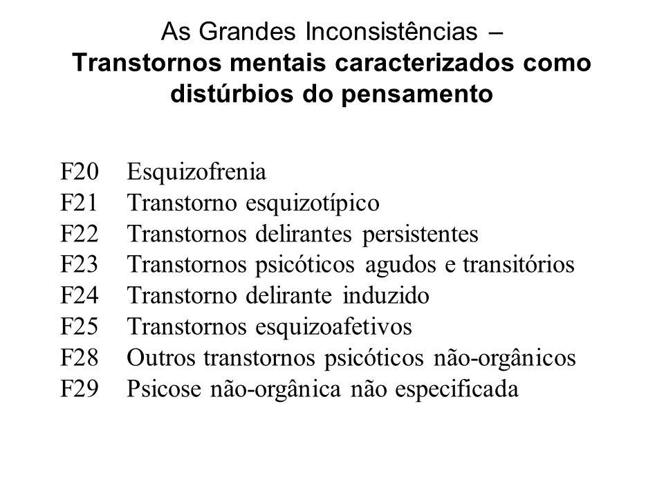 As Grandes Inconsistências – Transtornos mentais caracterizados como distúrbios do pensamento