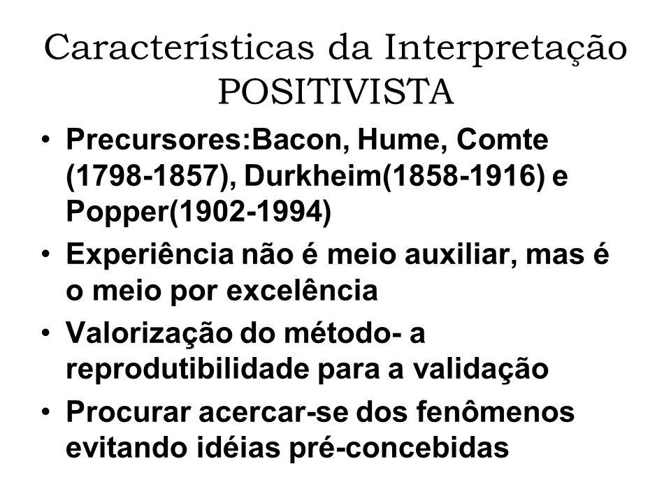 Características da Interpretação POSITIVISTA