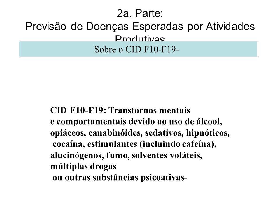 2a. Parte: Previsão de Doenças Esperadas por Atividades Produtivas