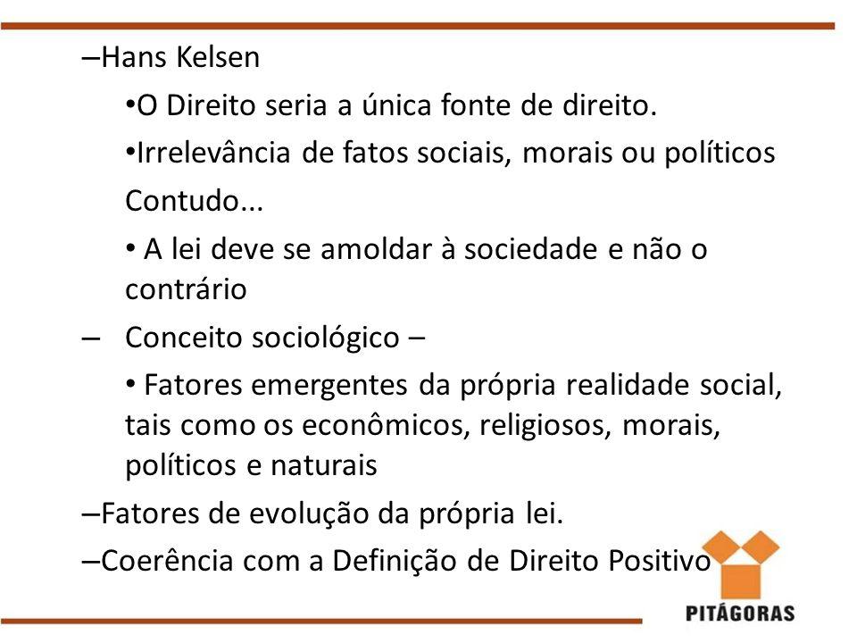 Hans Kelsen O Direito seria a única fonte de direito. Irrelevância de fatos sociais, morais ou políticos.