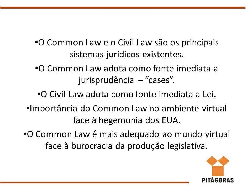 O Common Law adota como fonte imediata a jurisprudência – cases .