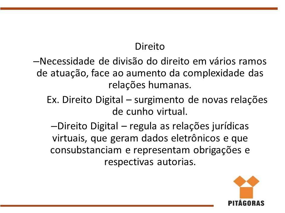 Ex. Direito Digital – surgimento de novas relações de cunho virtual.