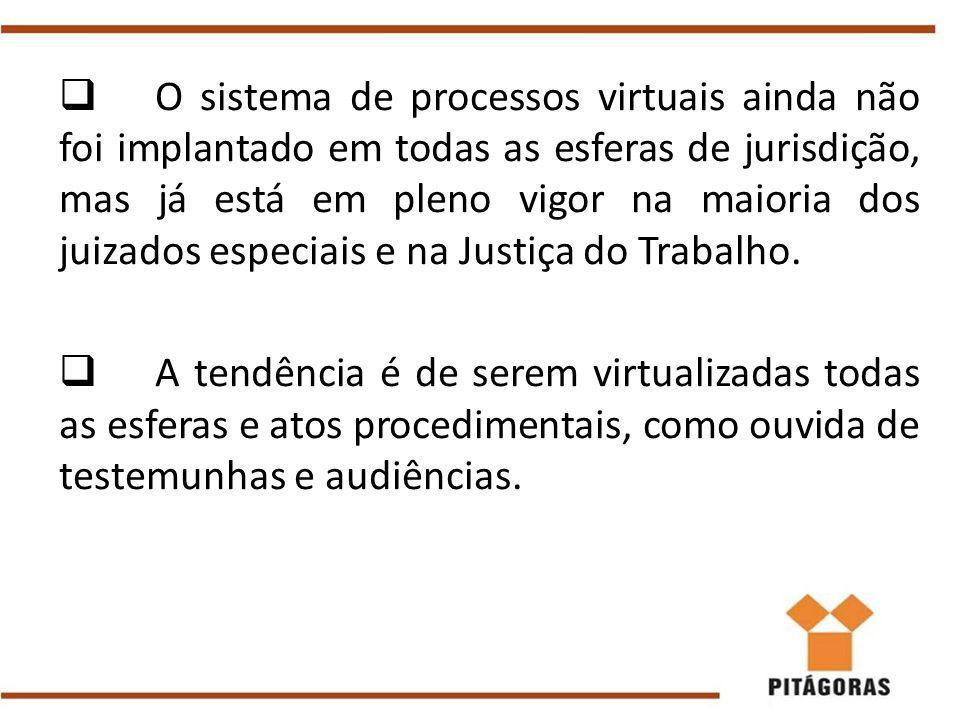 O sistema de processos virtuais ainda não foi implantado em todas as esferas de jurisdição, mas já está em pleno vigor na maioria dos juizados especiais e na Justiça do Trabalho.