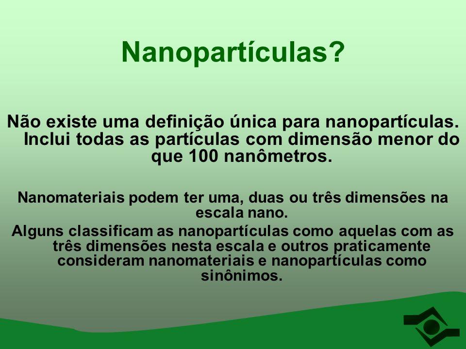 Nanomateriais podem ter uma, duas ou três dimensões na escala nano.