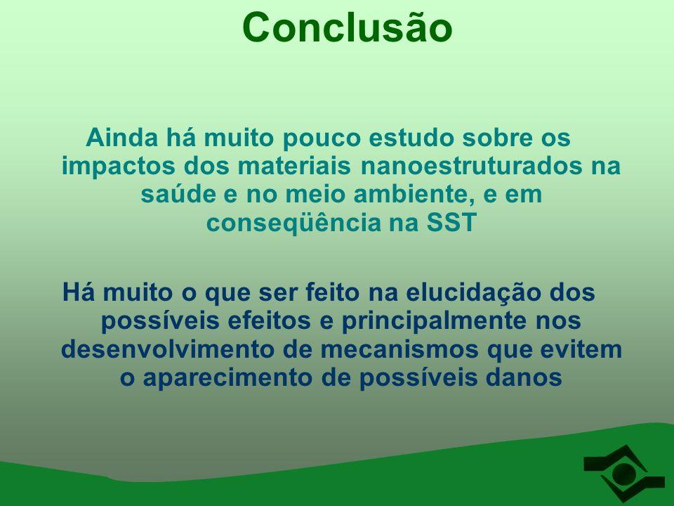 Conclusão Ainda há muito pouco estudo sobre os impactos dos materiais nanoestruturados na saúde e no meio ambiente, e em conseqüência na SST.