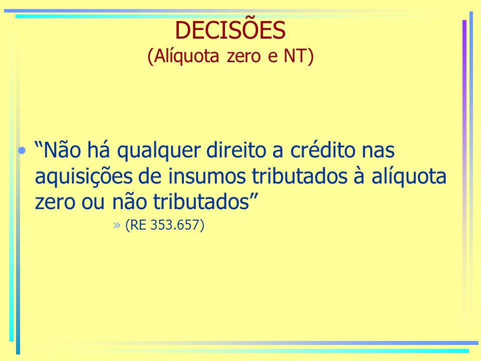 DECISÕES (Alíquota zero e NT)