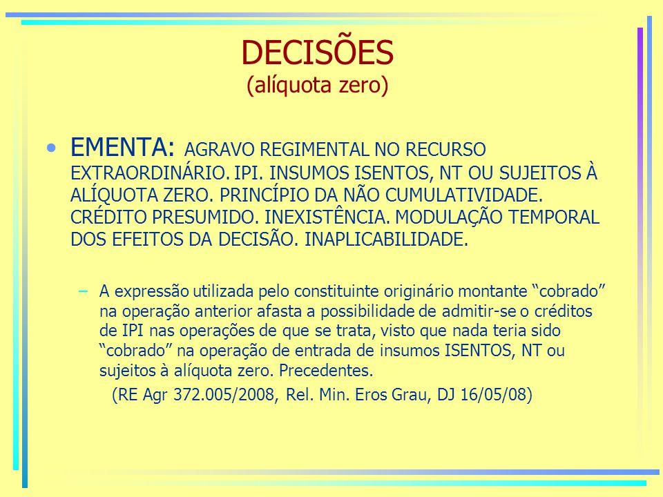 DECISÕES (alíquota zero)